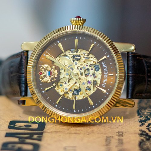 Poljot Russian Skeleton Gold Black